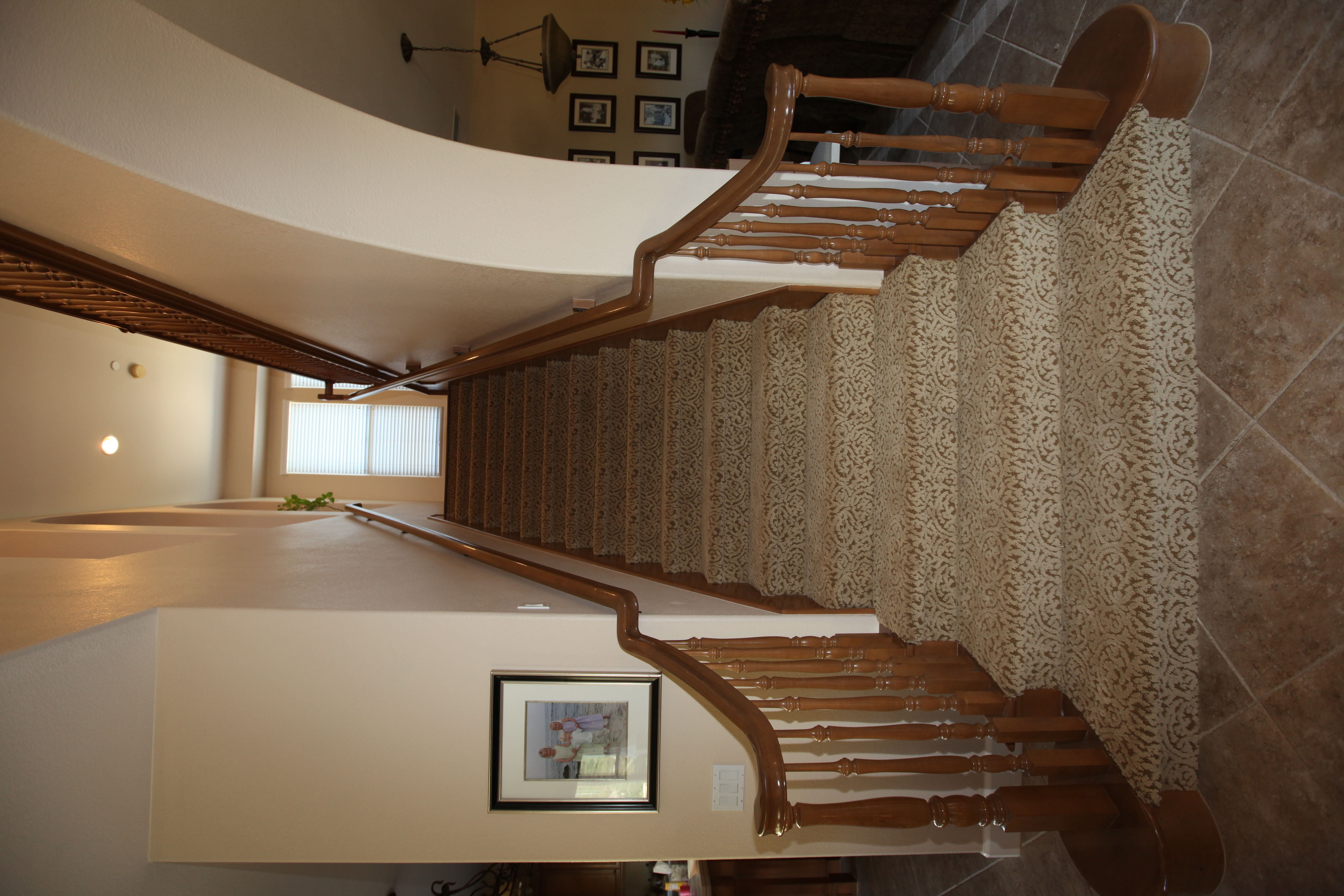 Fun Carpet On Stairs The Interior Connection | Zig Zag Stair Carpet | Winding Staircase | Geometric | Metal Bar On Stair | Red | Traditional