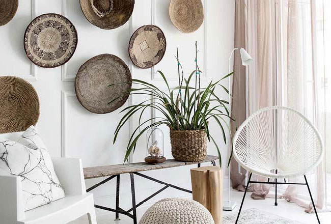 Baskets add a lovely hand crafted and artisan element to your walls no matter what your colour palette. They are definitely a winner when it comes to adding texture to our walls