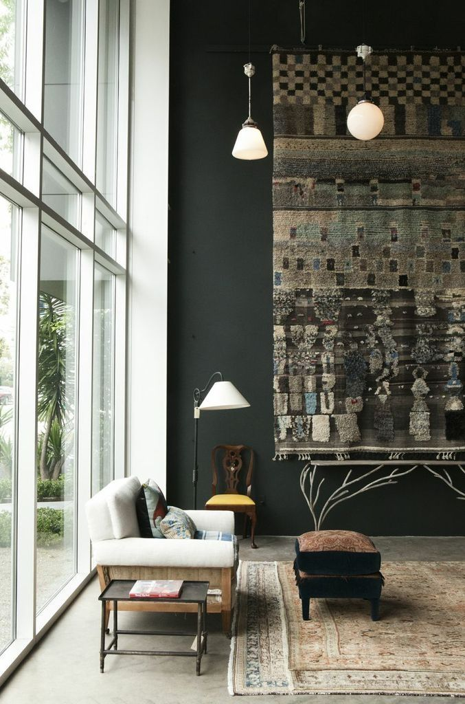 ADD TEXTURE TO YOUR WALLS WITH DECORATIVE WALL HANGINGS | Decorative rugs not only provide texture, they can double up as art work whilst having the additional sound proofing benefits. Great for open plan spaces where sound can be absorbed rather than deflected.