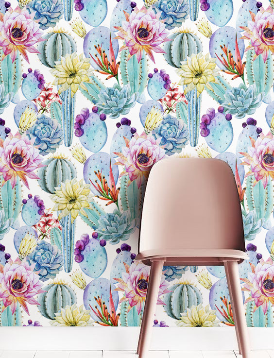 The Cactus Trend | With all the botanical wallpapers out there at the moment, this Cactus wallpaper makes a nice alternative.