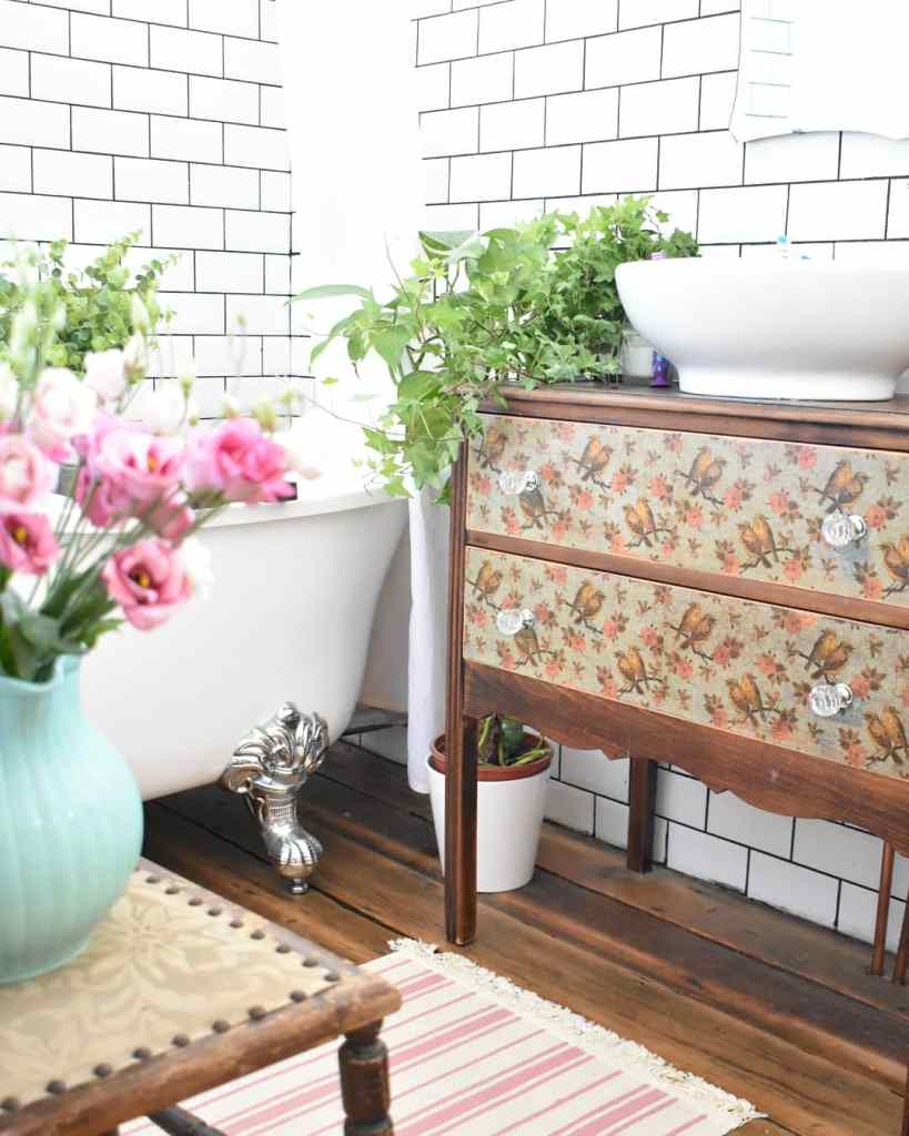 12 Essential Design Tips To Help Update ​Your Home | Decoupaged up-cycled furniture to create a sink unit for a bathroom.