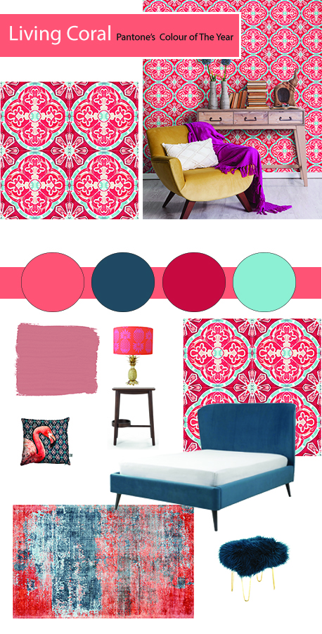 How To Use Living Coral - Pantone's Colour Of The Year 2019 | Paired with its true complementary colour blue, Living Coral is right at home. Here I've used teal in my mood board above, but you could opt for softer blues which would create a fresher cleaner look to a room. Colour trends are something to consider when decorating our homes. They offer us the chance to rethink and assess our decor choices and consider new possibilities.
