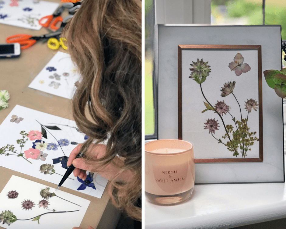 12 Essential Design Tips To Help Update Your Home | Flower Pressing to create a unique piece of art for the home.