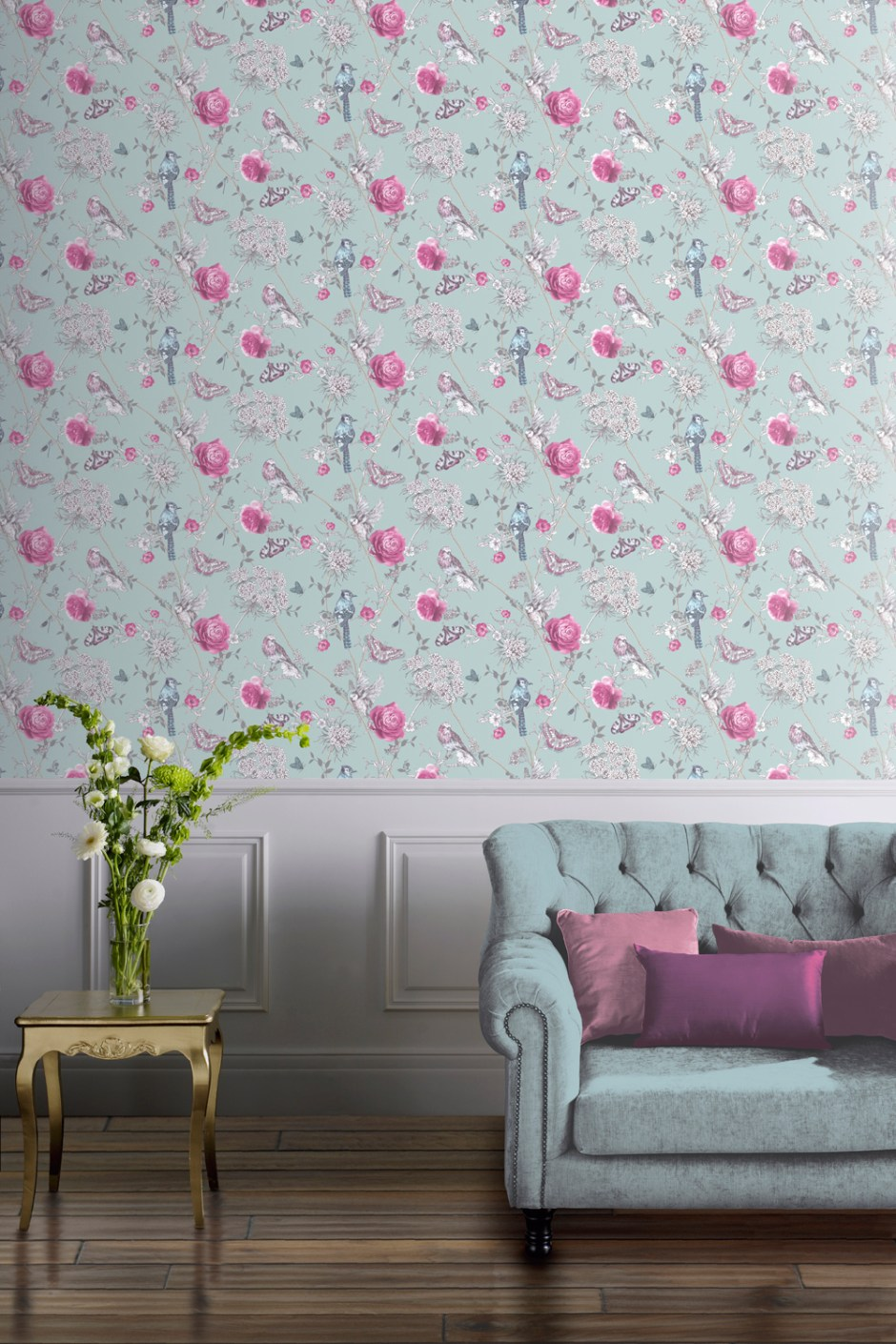 How To Use Neo Mint Colour of 2020 - Paradise Garden Bird wallpaper that introduces Neo Mint Colour of 2020 into your home decor choices. Perfect for adding pattern and subtle colour that is uplifting and calming.