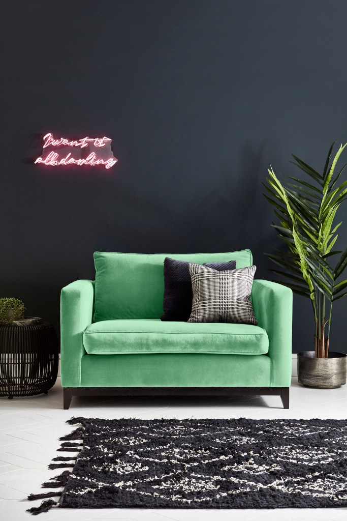 How To Use Neo Mint - The Colour of 2020 - Darwin Loveseat from Darlings of Chelsea for a more vibrant pop of Neo Mint to your living spaces.
