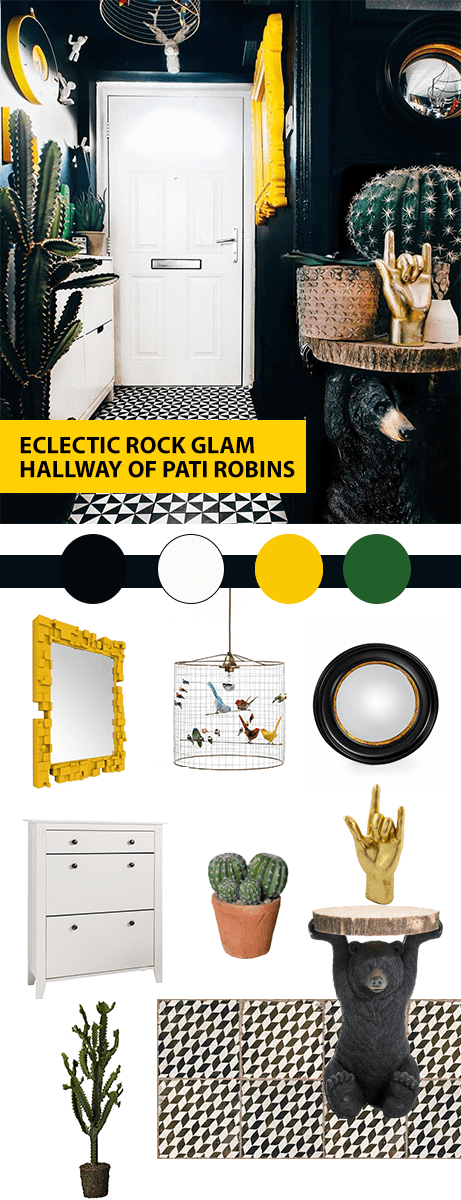 Style Up Your Hallways!  Moodboard inspired by the Hallway styling of  Pati Robins Eclectic dark small hallway.