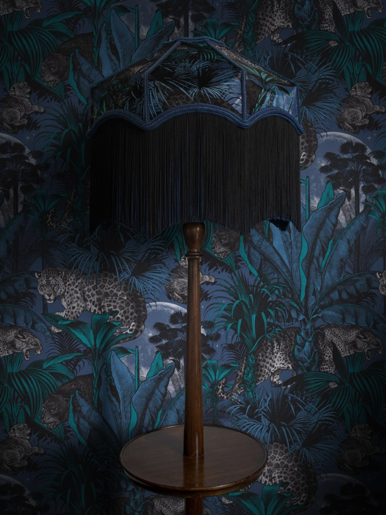 The Fringe Trend For Your Homes | Noctorunal Faunacation Fringed Balmoral lampshade from Divine Savages is the perfect partner for the wallpaper in the same design. Perfect for maximalist interiors.