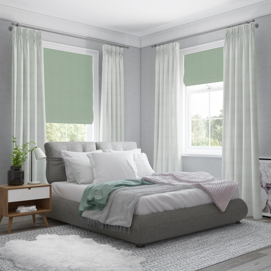 How To Use Neo Mint - The Colour of 2020 - Neo Mint roman blinds are perfect for this bedroom setting adding a fresh clean look.