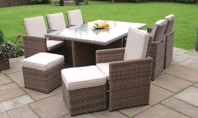 The Latest Garden Furniture From Fishpools | MUSTIQUE - 7 Piece Cube With Footstool Champagne Rattan