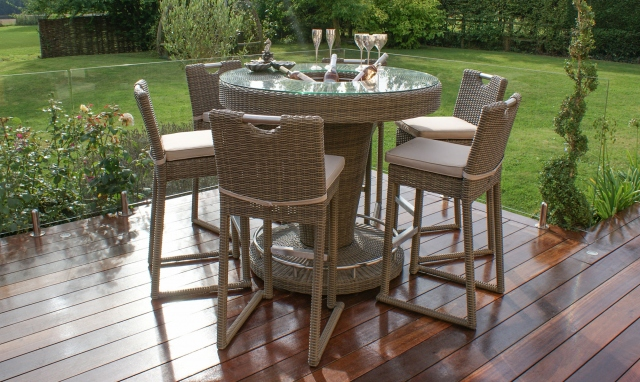 The Latest Garden Furniture From Fishpools | MUSTIQUE 6 Seat Round Garden Bar Set with Ice Bucke tChampagne Rattan  - Ideal for smaller gardens and patios this bar set has an inbuilt ice bucket and is perfect for entertaining.
