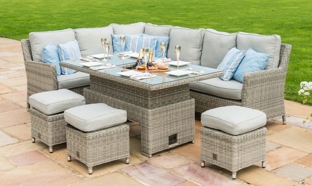 The Latest Garden Furniture From Fishpools | OYSTER BAY - Corner Garden Dining Set with Rising Table Including Ice Bucket -Light Grey Rattan - versatile relaxed seating for your garden with a rising coffee table that doubles up as a dining table. It also incorporates an ice bucket.