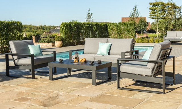 The Latest Garden Furniture From Fishpools | KISSIMMEE - 2 Seat Sofa Set In Black Aluminium - relaxed contemporary outdoor seating made from strong aluminium frames and shower proof cushions.