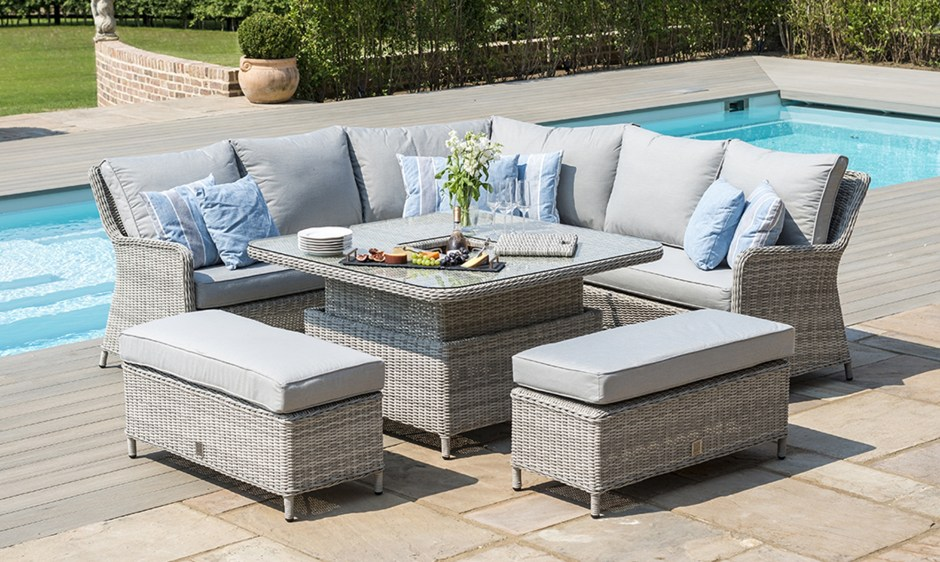 The Latest Garden Furniture From Fishpools | OYSTER BAY - Square Royal Corner Bench Set In Grey Rattan