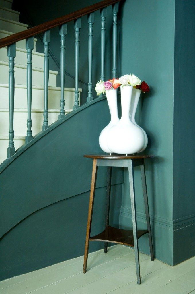 Small Hallway Makeover Plans & Top Tips To Decorate Your Own | Down Pipe And Slipper Satin Stairs -Farrow & Ball paint for stairs entrance hall.