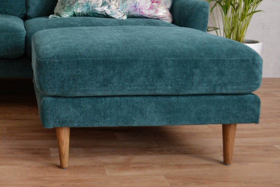 Snug Shack The UK's First Sofa In A Box | Midcentury style sofa and footstool delivered in a box within 3 days. Perfect for new home owners or renters and makes for super stylish seating to your living rooms. Easy care fabric in a choice of three colours its ideal for small living rooms.