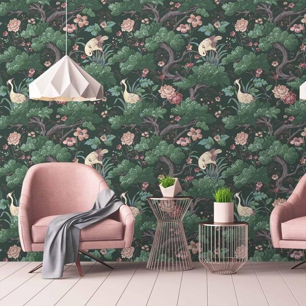 Small Hallway Makeover Plans & Top Tips To Decorate Your Own | Crane Bird in Forest Green Wallpaper - Woodchip & Magnolia also available in 6 other colourways. This nature inspired wallpaper will be used to create a feature wall in our small hallway.