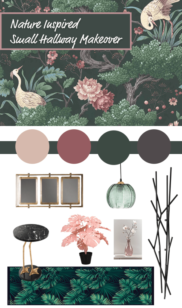 Small Hallway Makeover Plans & Top Tips To Decorate Your Own | Moodpboard based around nature inspired wallpaper, Crane Bird in Forest Green Wallpaper - Woodchip & Magnolia for our small hall, stairs and landings.