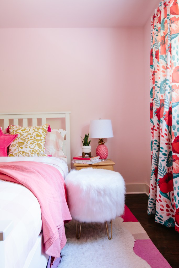 The Creative, Bold & Colourful Home of Paola Roder | Pretty vibrant pink guest bedroom using texture and pattern to create visual interest.
