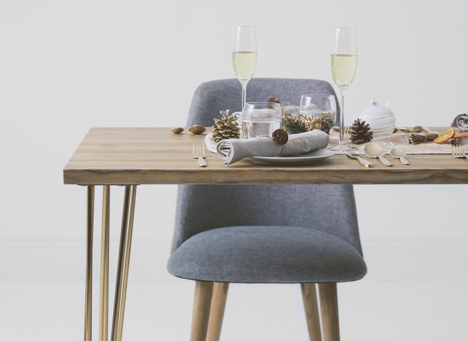 How To Choose The Perfect Dining Table For Your Home | Hairpin Rectangular dining table from Cult Furniture. Solid Elm wood top adds longevity and is more durable than manmade counterparts. It's important to consider the surface area of your dining table and the activities you are likely to carry out.