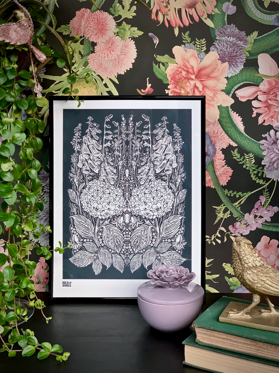 'Hydrangea Foxglove' Art Print in Sheer Slate - Bold & Noble