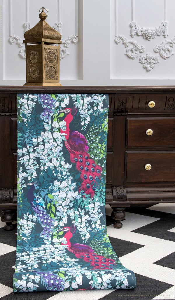 Peacock Maximalist Wallpaper - Peacock Maximalist Collection - Claire Elsworth Design Luxury Maximalist Home decor