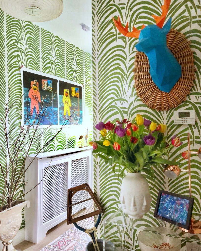 How To Use Paint Creatively In Your Home | diy painted stencil leaf wallpaper