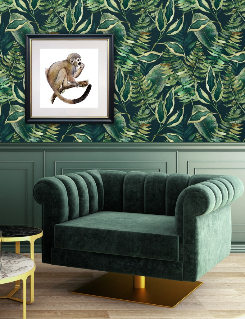 Avalana Design - Nature-Inspired Luxury Home Decor Lucky Monkey framed art and dark tropics wallpaper