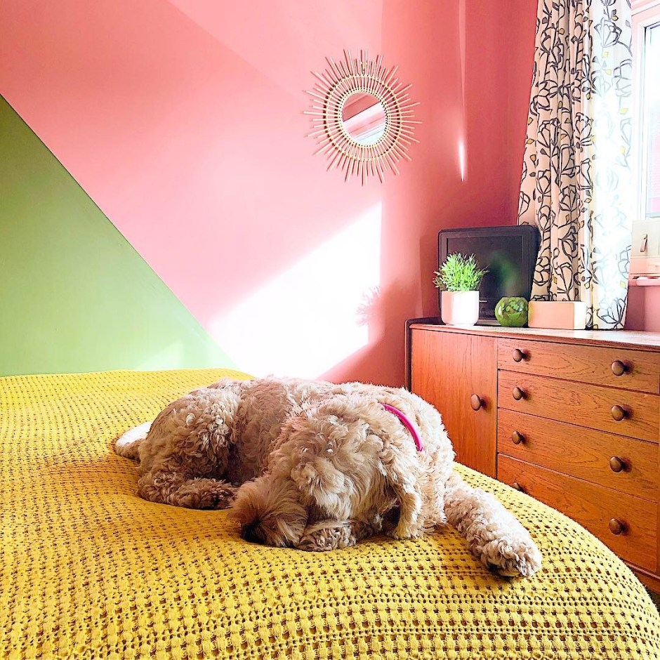 How To Use Paint Creatively In Your Home | paint used to colour block and add interest to this fun retro bedroom space