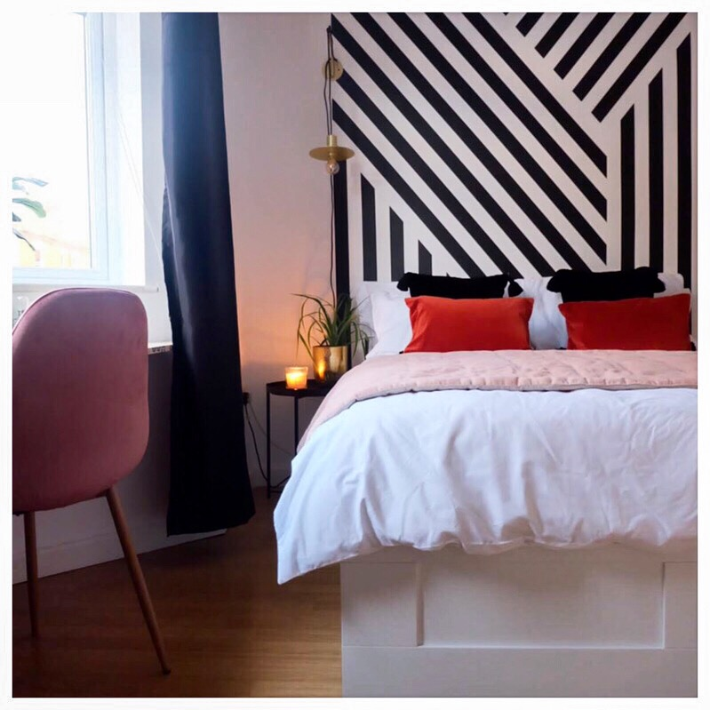 How To Use Paint Creatively In Your Home | Hand Painted headboard feature to bedroom space