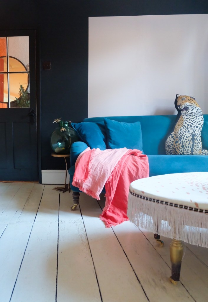 The Creative Eclectic Home of Gold Leaf Queen - Lara Bezzina - eclectic living room painted floor