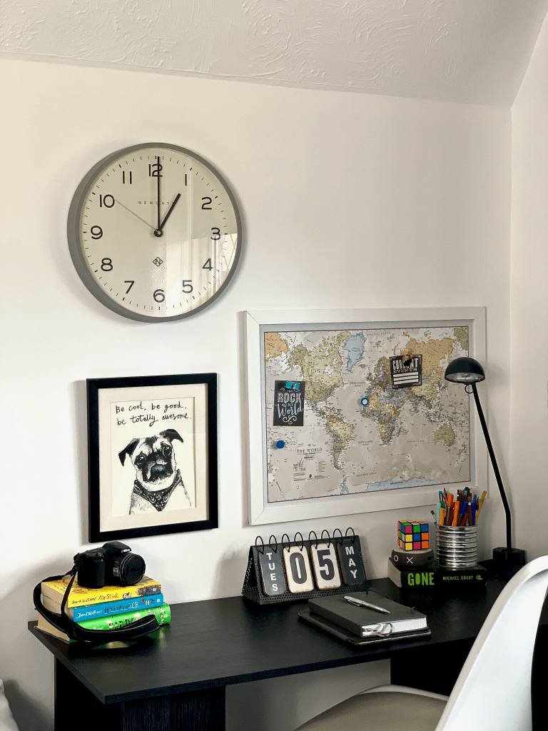 Our Son's desk is perfect for homeschooling during lockdown. Echo Number Three Clock - Newgate World | Map Pin Board - Maps International | Pug Prints - Tipperly Hill Pet Artists