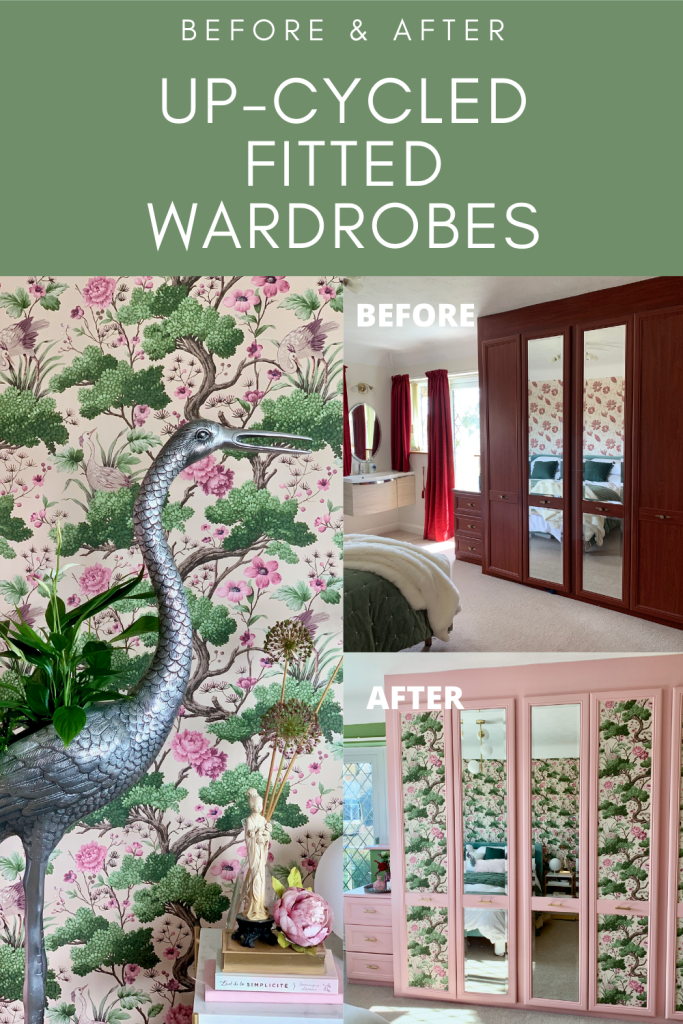 Upcycled fitted wardrobes using Crane Bird wallpaper and Farrow & Ball paint left over from bedroom makeover - Romantic Whimsical Nature Inspired Bedroom Makeover