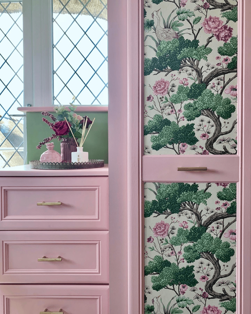 Romantic Whimsical Nature Inspired Bedroom Makeover - Part 2 The Reveal - Upcycled fitted wardrobes using Crane Bird wallpaper Woodchip and Magnolia and Nancy's Blushes Farrow and Ball