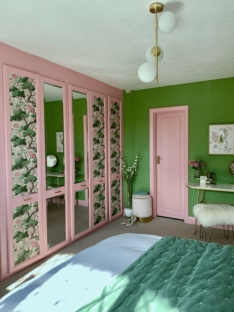 Romantic Whimsical Nature Inspired Bedroom Makeover - Up-Cycled Fitted Wardrobes - how to wallpaper wardrobe doors