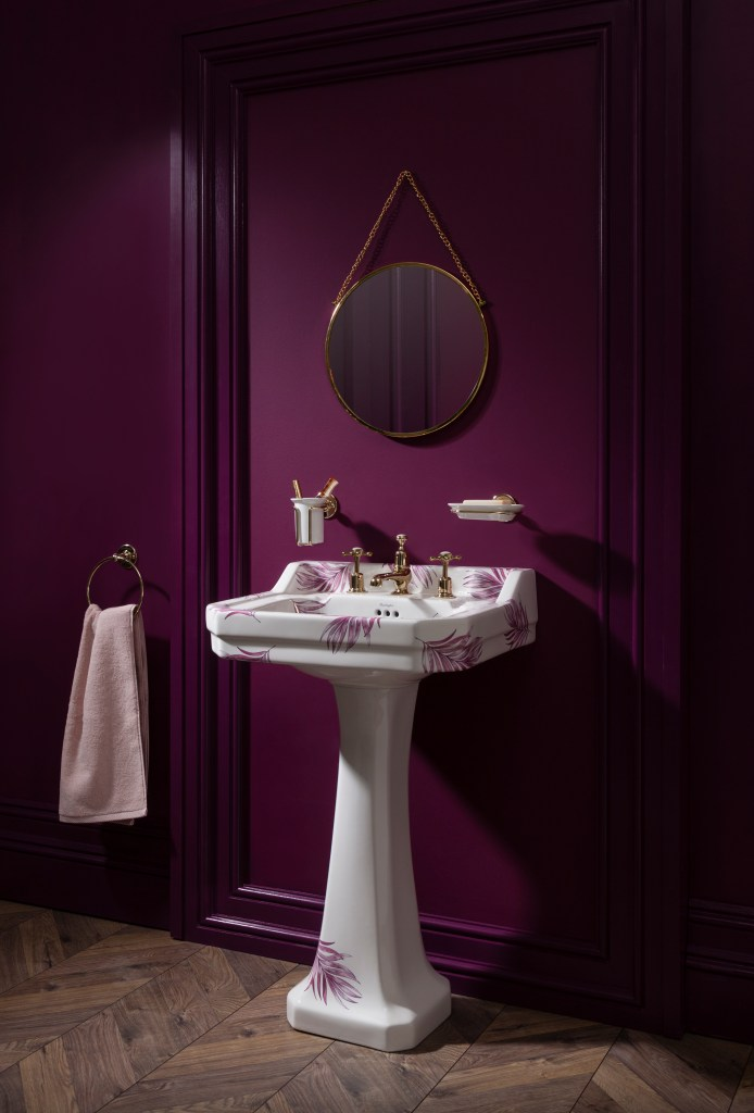 Unique Bespoke Traditional Bathroom Sanitary Ware by Burlington - Botanical Pink wash basin and pedestal