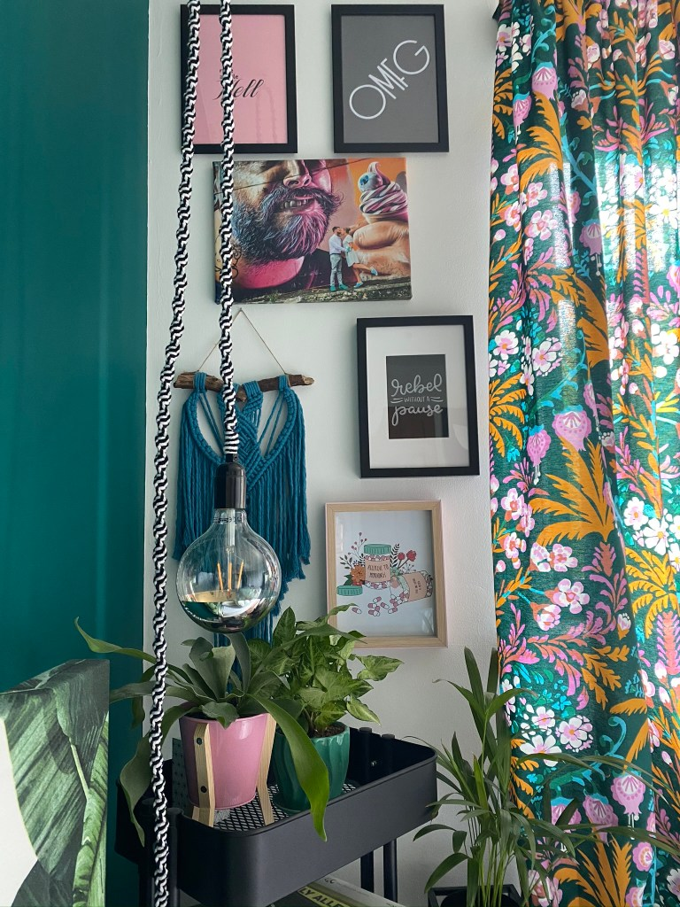 Gallery wall including macrame and bold vintage curtains | Colour & Pattern Filled Eclectic Home - Saara McLoughlin
