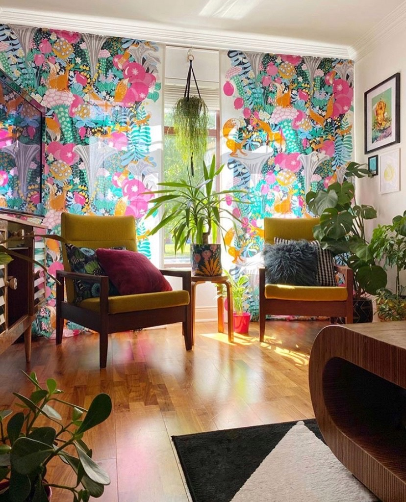 Eclectic living room with Mid Century influences and vintage style curtains | Colour & Pattern Filled Eclectic Home - Saara McLoughlin