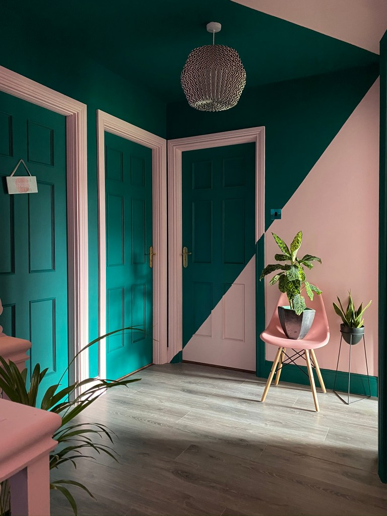 Pink and green colour blocking hallway including doors - Colour & Pattern Filled Eclectic Home - Saara McLoughlin