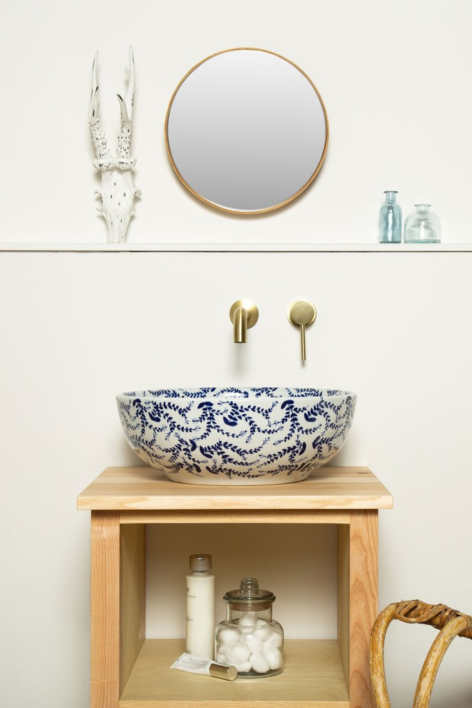 FEARNE Pretty Handmade Blue & White Countertop Wash Basin Sink - The Way We Live London