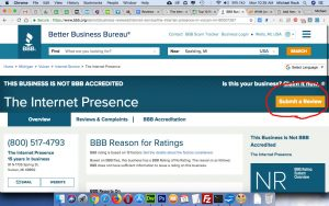 The Internet Presence review at Better Business Bureau