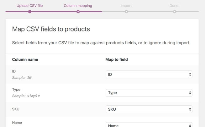 Import Products Into WooCommerce Step Two