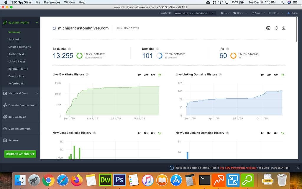 Screenshot of the Seo Powersuite SEO Spyglass Backlink Profile