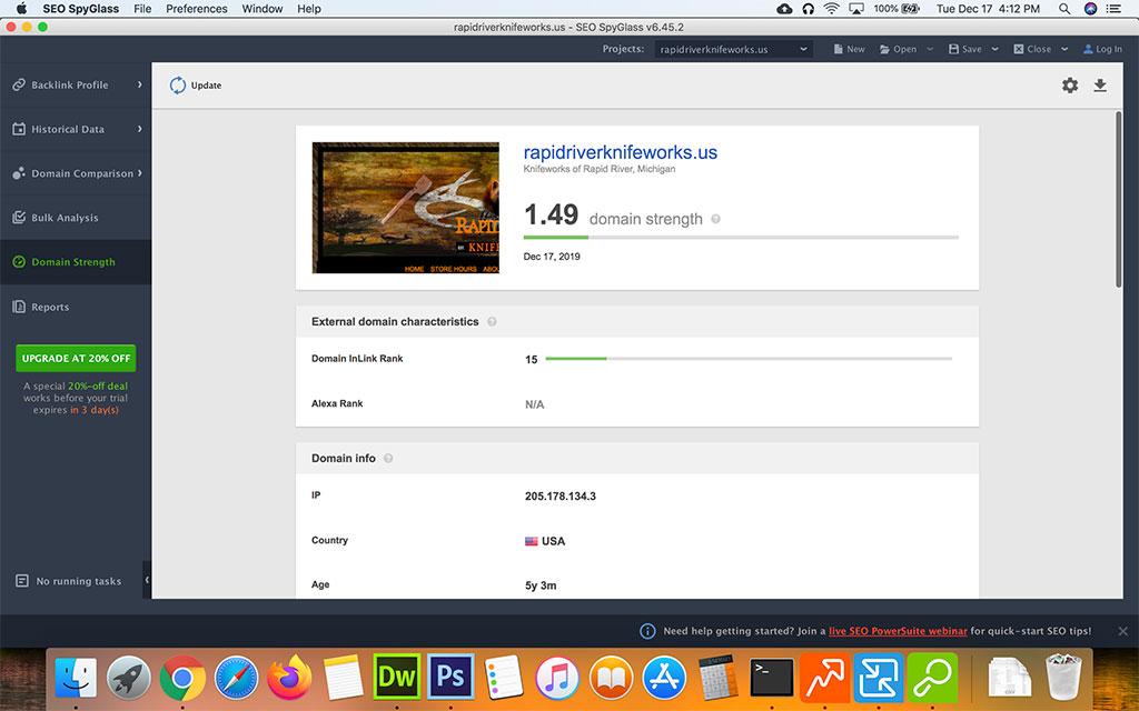 Screenshot of Seo Powersuite SEO Spyglass Domain Strength
