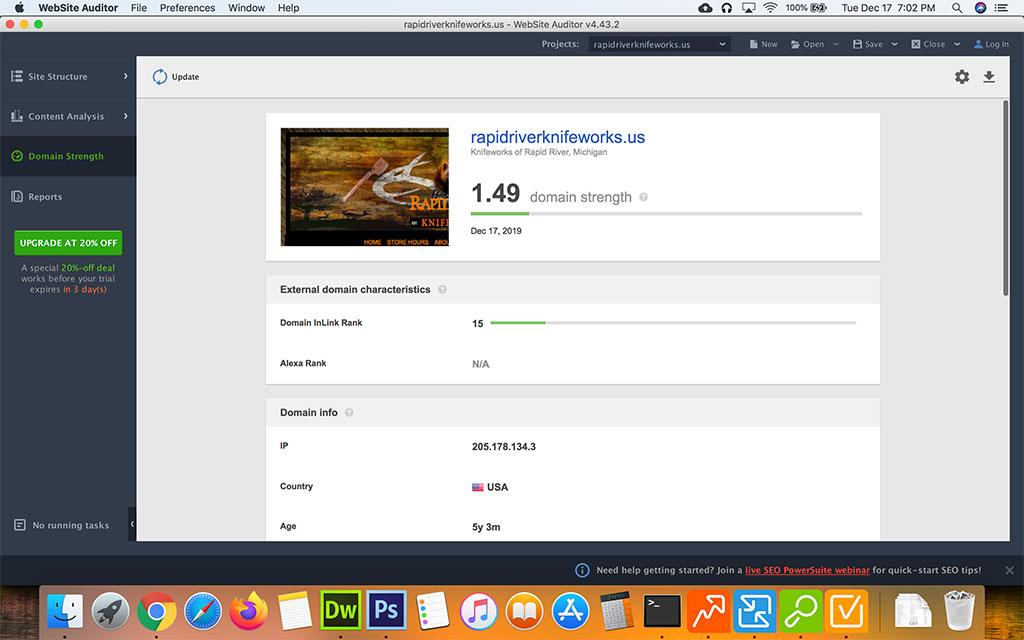 Screenshot of the Seo Powersuite Website Auditor Domain Strength