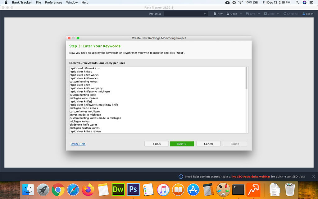 Screenshot of SEO Powersuite - Rank Tracker Step 3