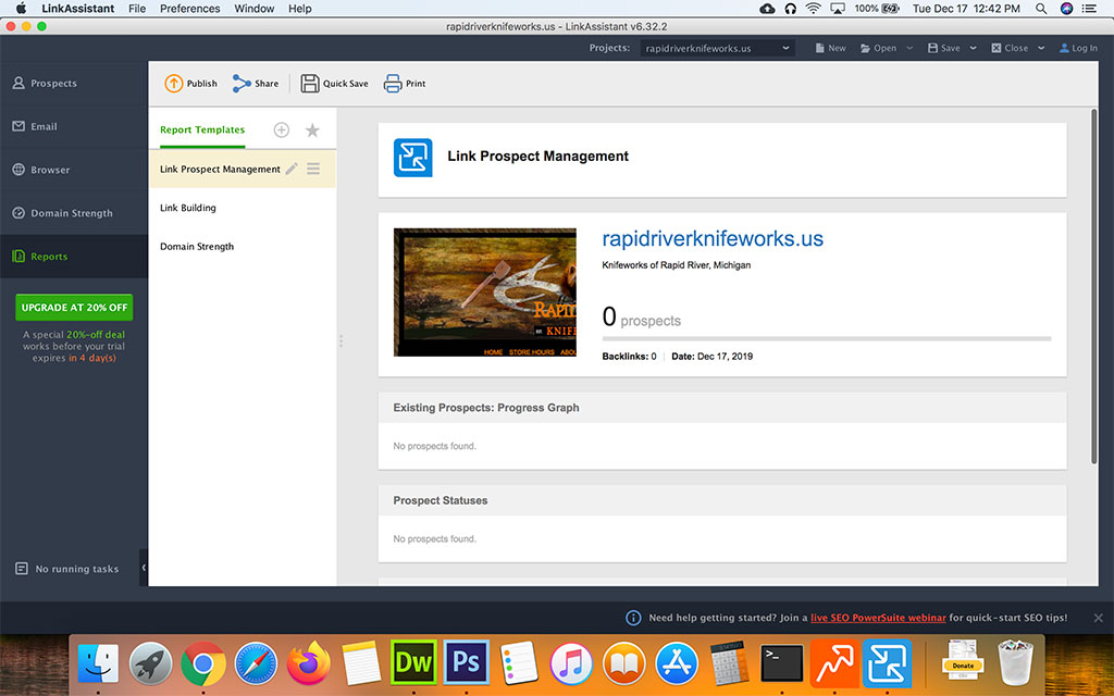 Screenshot of the SEO Powersuite Link Assistant Reports