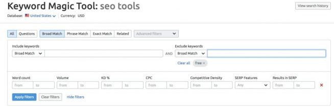 Filter option on SEMRush's Keyword Magic Tool