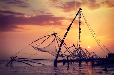 Chinese fishnets during sunset. Kochi, Kerala, India