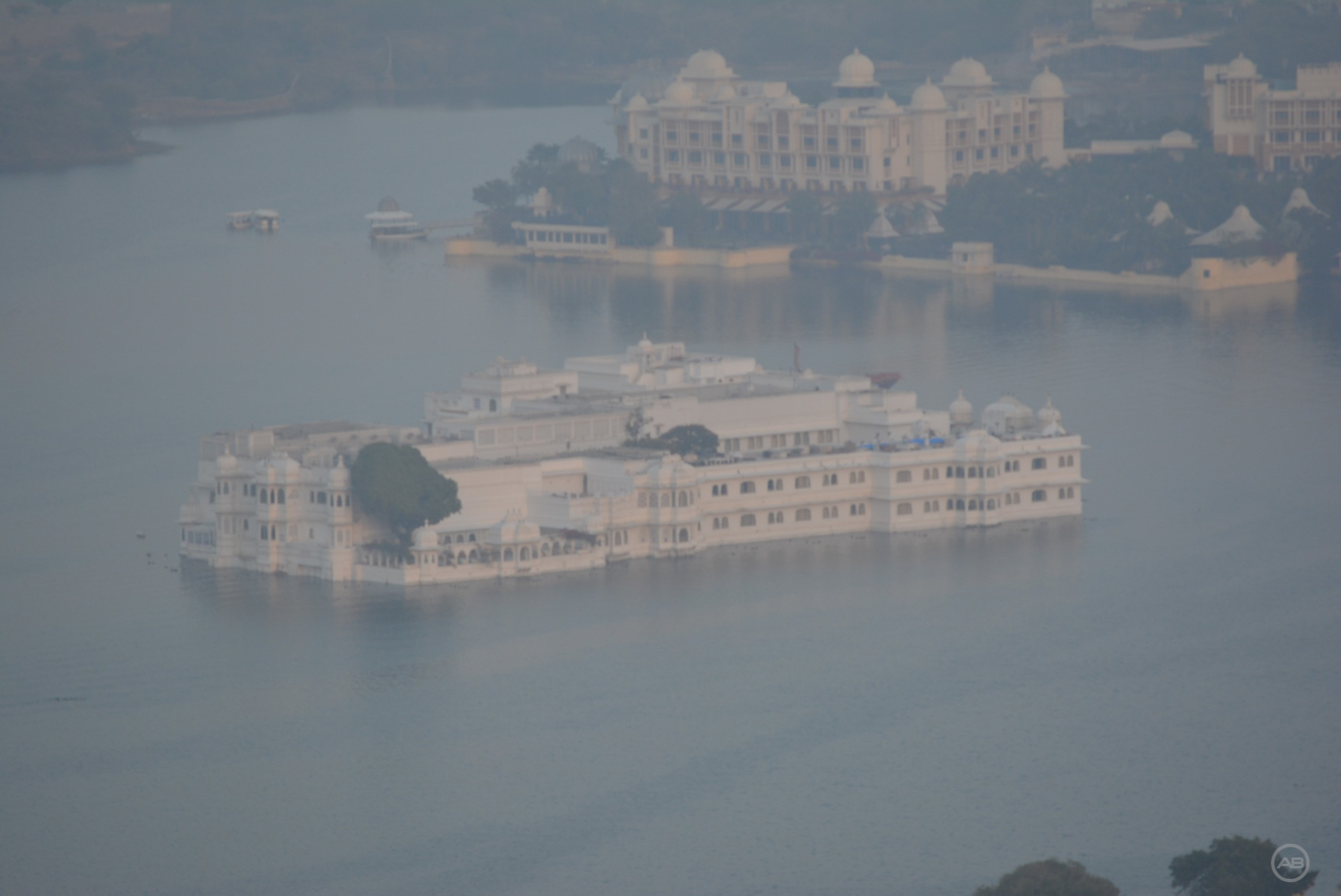 Taj Lake Palace from Karni Mata