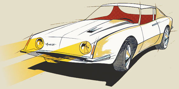 """""""Preliminary Studies for Studebaker Avanti Automobile."""" March 22, 1961. American Treasures of the Library of Congress."""